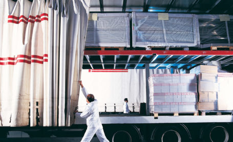 open curtain on truck